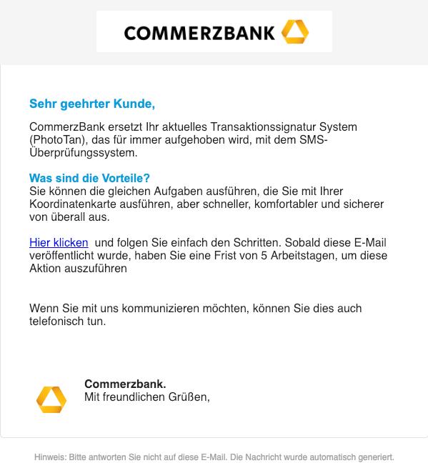 2019-01-19 Commerzbank Fake-Mail Online Verifizierung- Aktion ist erforderlich