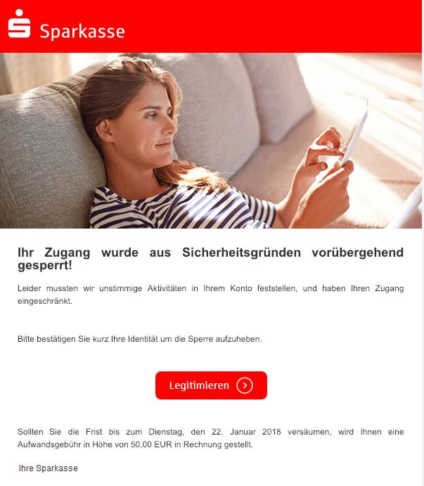 2019-01-19 Sparkasse Spam-Mail Ihr Zugang wurde aus Sicherheitsgründen vorübergehend gesperrt