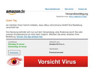 2019-01-21 Amazon Spam-Mail Virus Schadsoftware Bestellung Versand