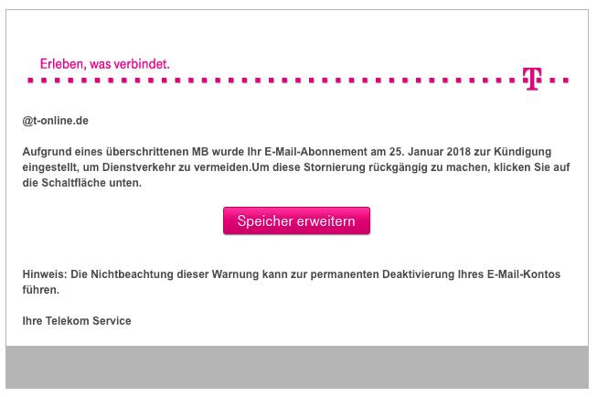 2019-01-22 Telekom Spam Mail Phishing Empfohlenes Update