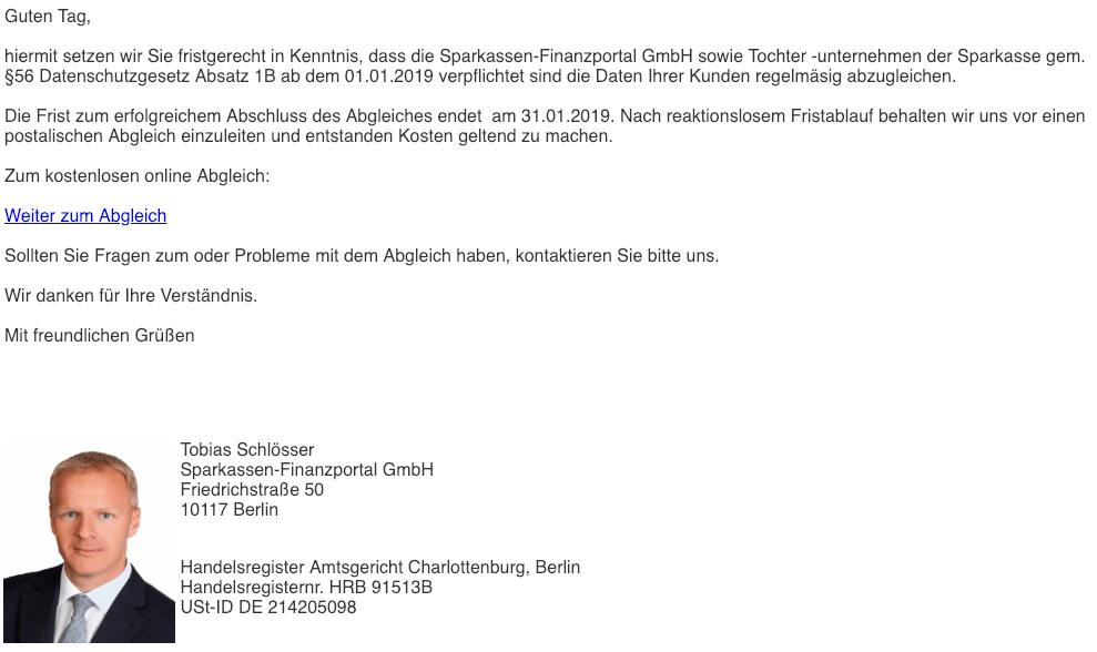 2019-01-24 Sparkasse Neue Mitteilung in ihrem ePostfach