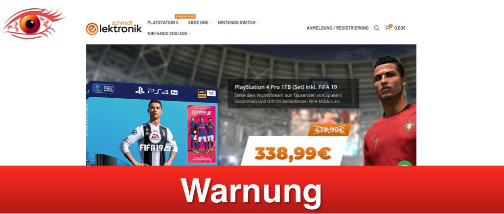 2019-01-25 Fakeshop Verdacht schmidt-elektronik.com Spielkonsolen