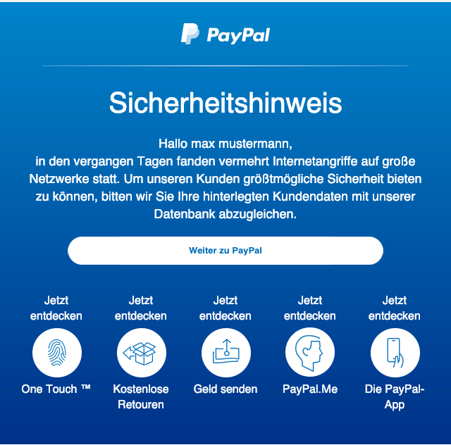 2019-01-25 PayPal Spam Mail Wichtige Information