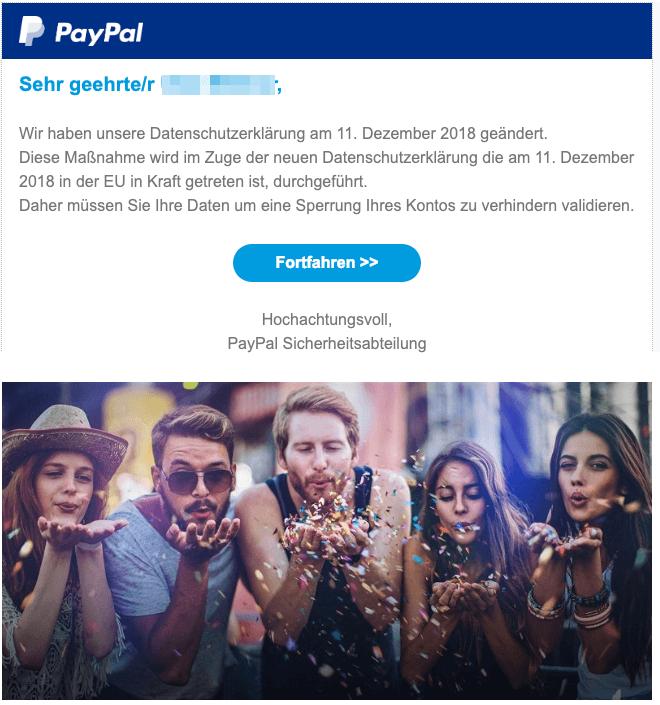 2019-01-25 Paypal Fake-Mail Sicherheitsüberprüfung
