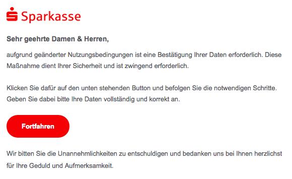 2019-01-28 Sparkasse Fake-Mail von Sicherheitscenter Neue Mitteilung