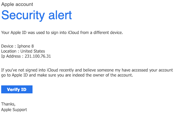 2019-01-29 Apple ID Fake Mail our Apple ID was used to sign into iCloud from a different device