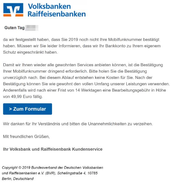 2019-01-30 Phishing Volksbanken Raiffeisenbanken