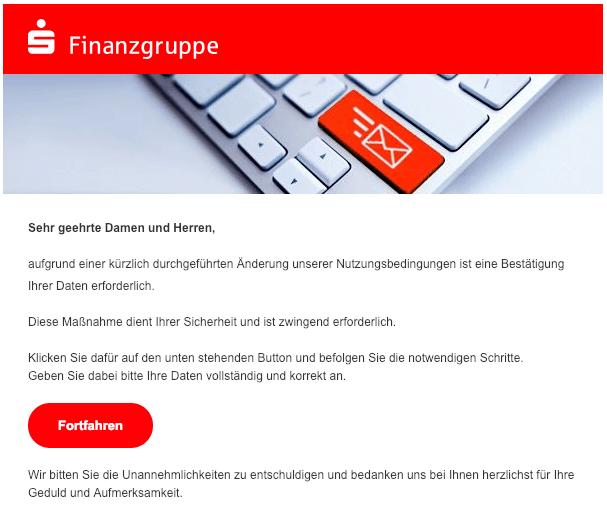 2019-01-30 Sparkasse Finanzgruppe Spam-Mail Neue Mitteilung