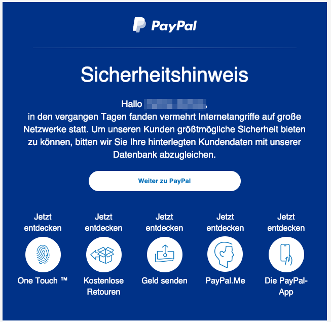 2019-01-31 PayPal Phishing-Mail Spam Wichtige Information