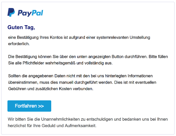 2019-02-01 PayPal Spam Nachricht Fake-Mail Neue Mitteilung