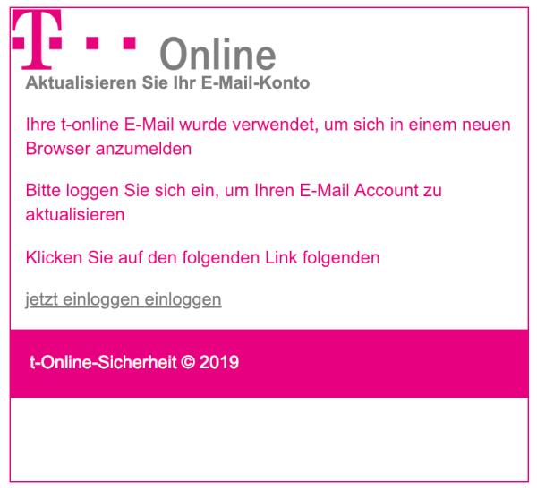 2019-02-02 T-Online Telekom Fake-Mail Spam Aktualisieren Sie Ihr E-Mail-Konto