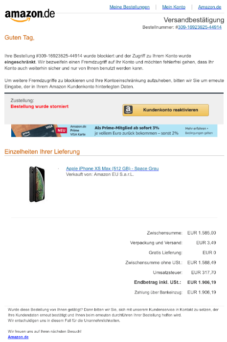 2019-02-11 Amazon Versandbestaetigung Spam Mail