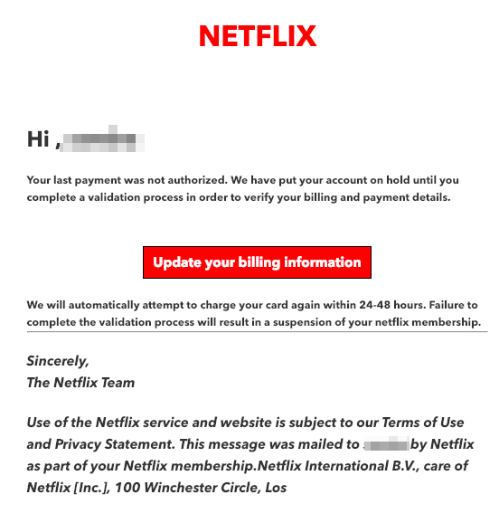 2019-02-20 Netflix Spam Mail Update required – Netflix account on hold