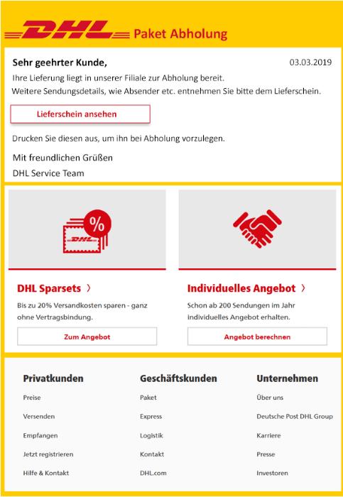 2019-03-05 DHL Virus-Mail Fake Ihre Sendung