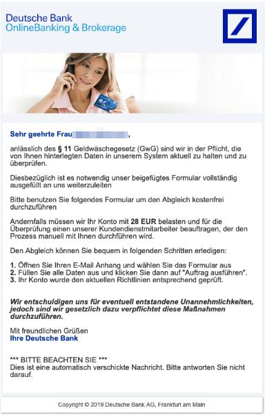 2019-03-13 Deutsche Bank Spam-Mail Information zu Ihrem Bankkonto