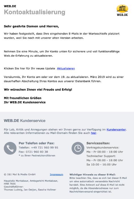 2019-03-19 web-de Spam-Mail Kontoaktualisierung