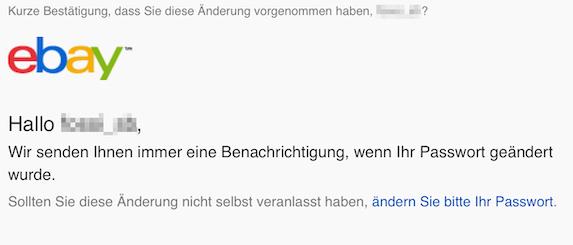 Bestätigungs E-Mail von eBay