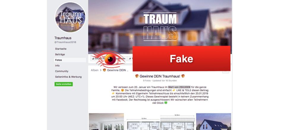 Facebook Fake Gewinnspiel Traumhaus