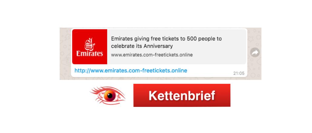 Kettenbrief Emirates Airline Flugtickets