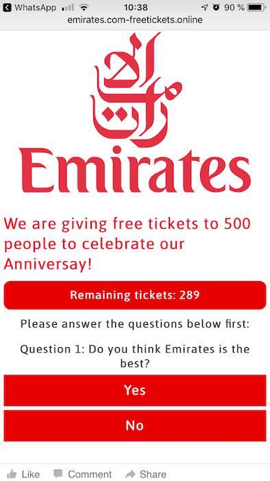 Kettenbrief Emirates Flugtickets 1