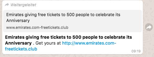 Kettenbrief Emirates Tickets