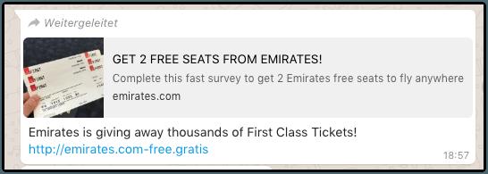 Kettenbrief Emirates kostenlose Tickets