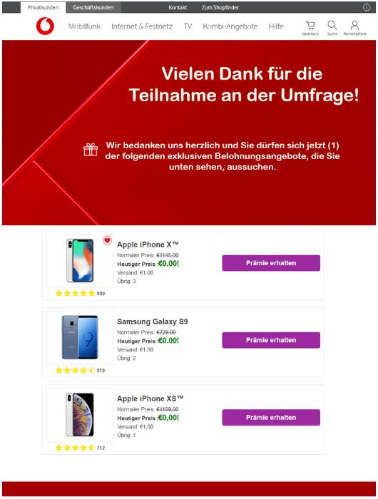 2019-02-01 Vodafone Spam-Mail Fake Geschenk wartet auf Lieferung