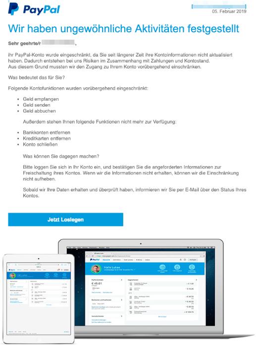 2019-02-05 PayPal-Mail Fake Sicherheitsüberprüfung