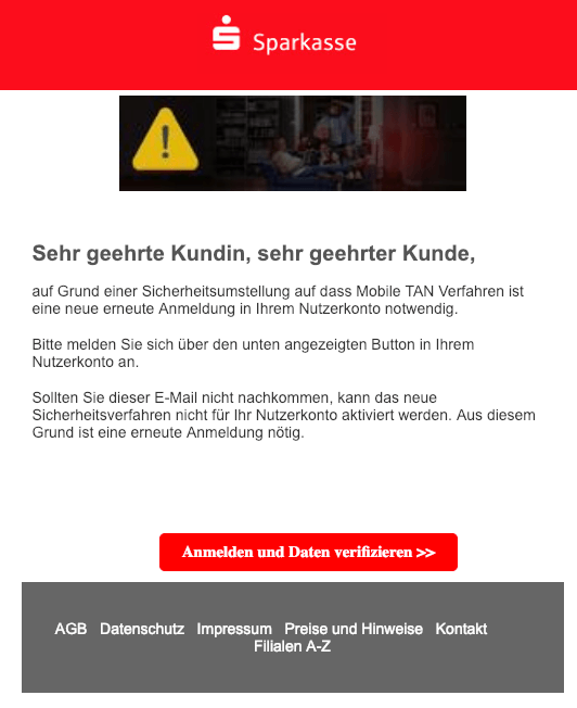 2019-02-05 Sparkasse Spam-Mail Wichtige Benachrichtigung