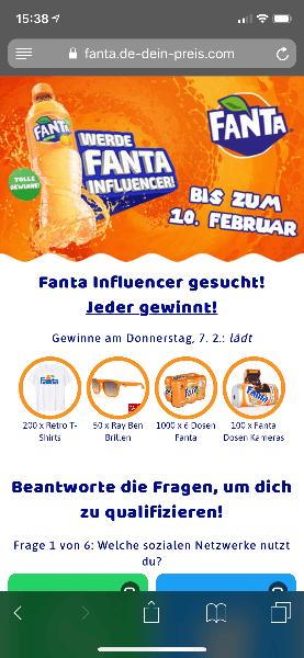 2019-02-07 Fanta Influencer gesucht Gewinnspiel Startseite