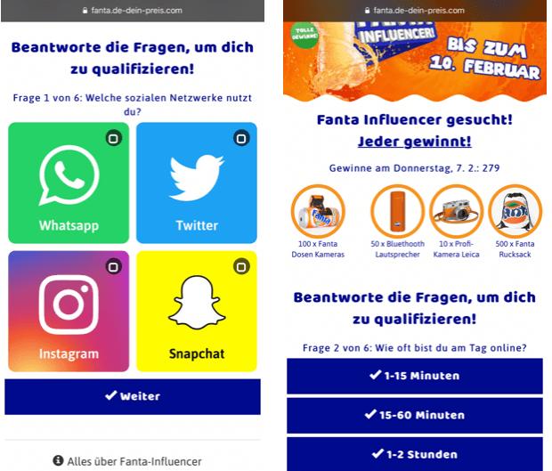 2019-02-07 Fanta Influencer gesucht Gewinnspiel Umfrage