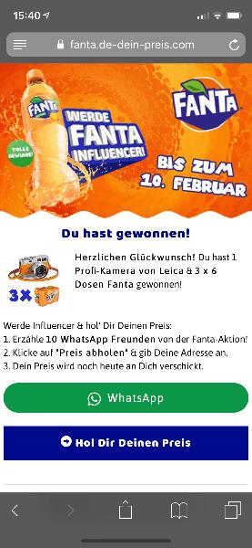 2019-02-07 Fanta Influencer gesucht Gewinnspiel WhatsApp