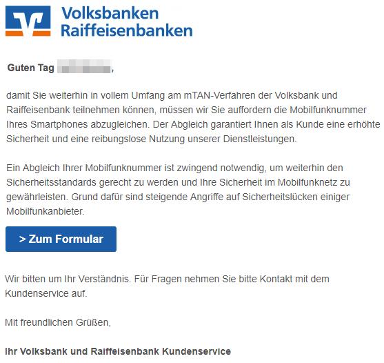 2019-02-10 Volksbanken Fake-Mail Abgleich Ihrer Mobilfunkrufnummer
