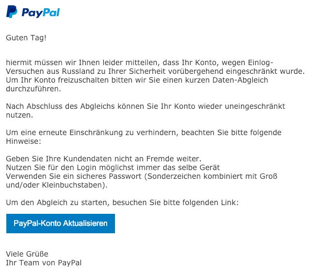 2019-02-12 PayPal Spam-Mail Bitte aktualisieren Sie Ihr Konto