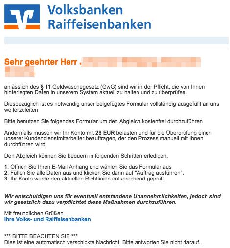 2019-02-13 Volksbank Fake-Mail Spam Geldwaesche Informationen zu Ihrem Bankkonto