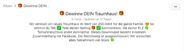 2019-02-18 Facebook Gewinnspiel Traumhaus 2019