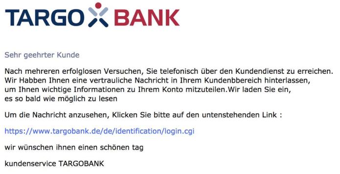 2019-02-18 TargoBank Spam-Mail Fake Wichtige Mitteilung