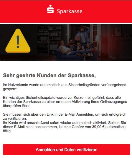 2019-02-19 Sparkasse Spam Mail Sicherheitsueberpruefung der Sparkasses AG fuer ihr Kundenkonto