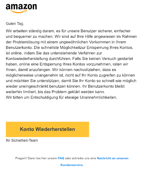 2019-02-20 Amazon Fake-Mail Bestaetigung ihres Amazon-Kontos noetig