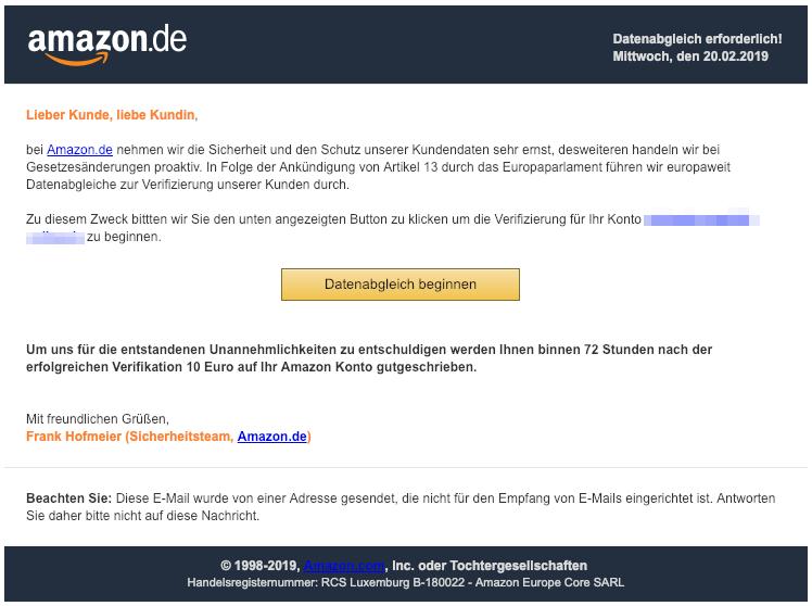 2019-02-20 Amazon Fake-Mail Phishing Wir muessen Ihre Daten abgleichen