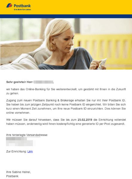 2019-02-20 Postbank Spam-Mail Fake Рostbank ID einrichten - Letzte Aufforderung