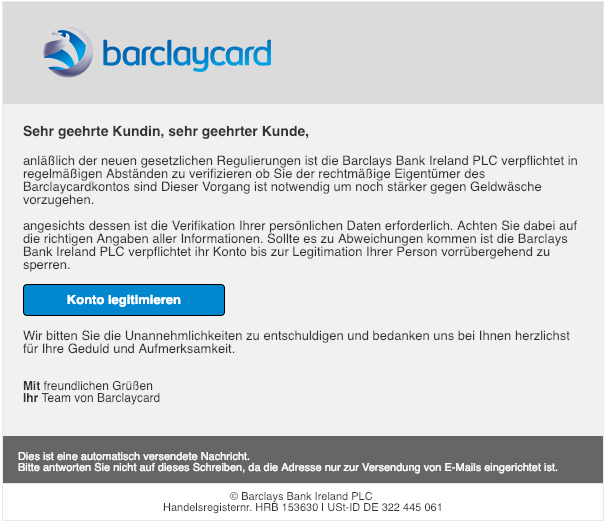 2019-02-21 Barclaycard Phishing Mail hre Kundenkarte wurde deaktiviert