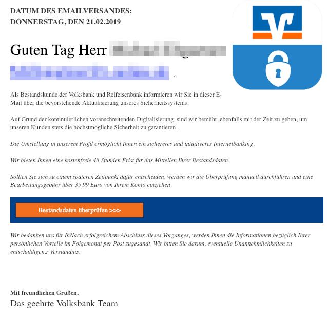 2019-02-21 Volksbank Spam-Mail Wichtige Nachricht- Wir brauchen einen Abgleich