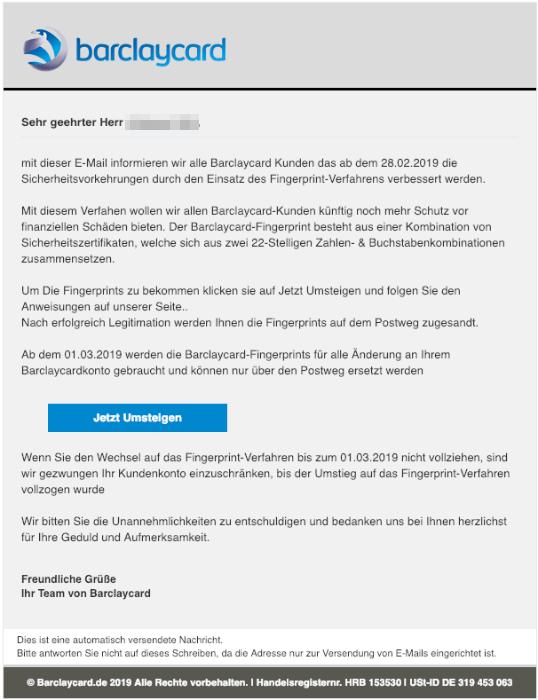 2019-02-22 Barclaycard Neue Sicherheitsvorkehrungen Fake-Mail