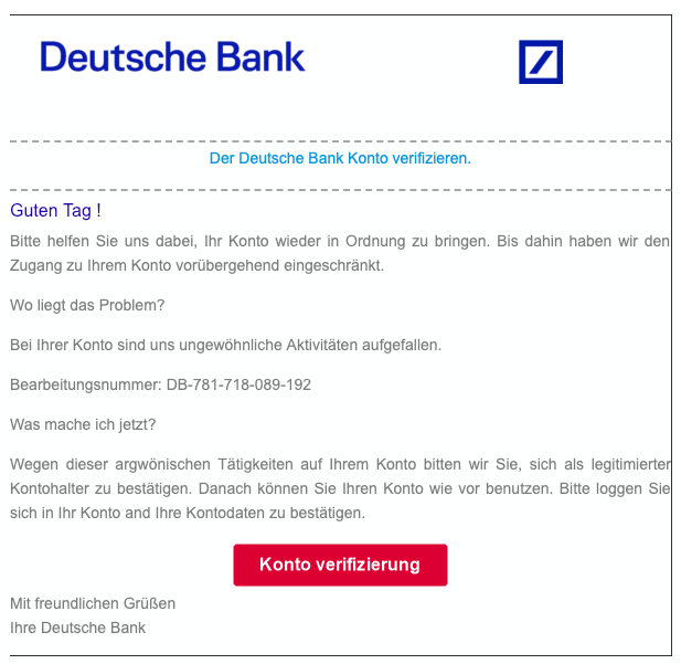2019-02-22 Deutsche Bank Spam-Mail Konto verifizieren