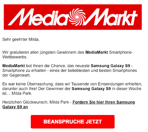 2019-02-22 Media Markt Wettbewerb Fake-Mail Spam Samsung Galaxy S9