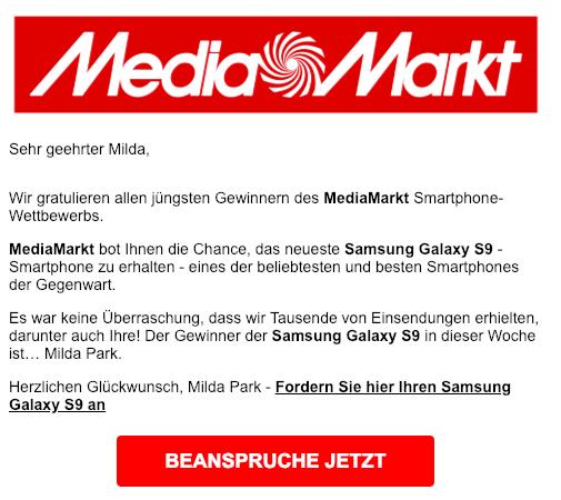 2019-02-22 Media Markt Wettbewerb Fake-Mail Spam Samsung Galaxy S9