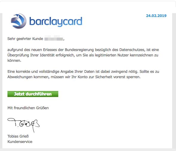 2019-02-24 Barclaycard Spam-Mail Ihr Barclays Konto wird gesperrt