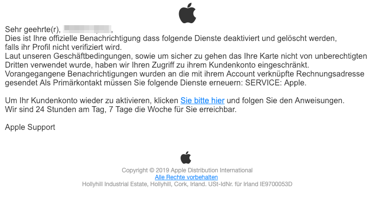 2019-02-25 Apple Spam Phishing-Mail Beachten Sie