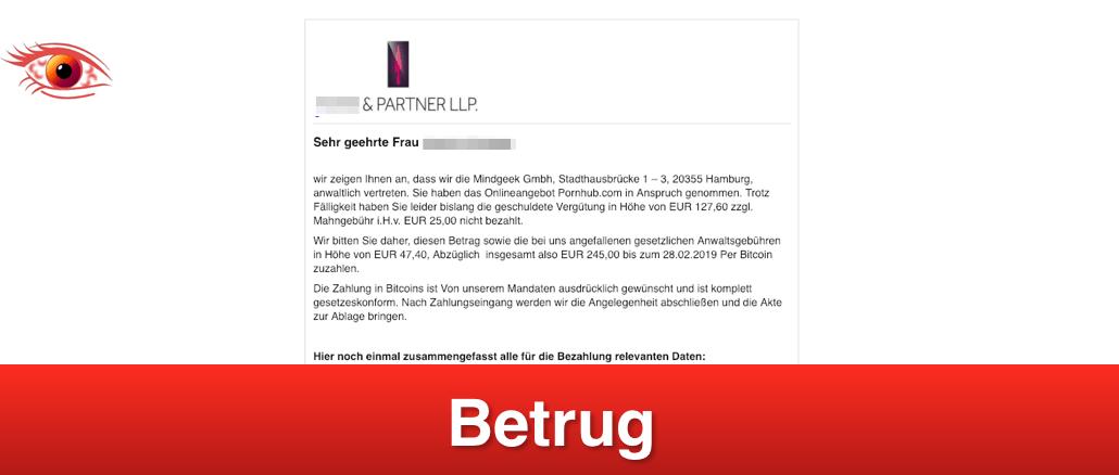 2019-02-25 Mahnung Abmahnung Spam Fake-Mail Mindgeek Gmbh pornohub Betrug